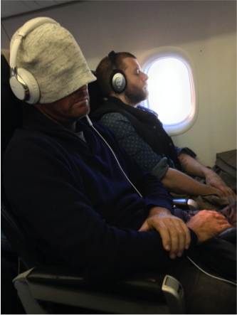 Pete and Wes sleeping on plane