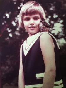 Me with my pet baby robin named Vogel