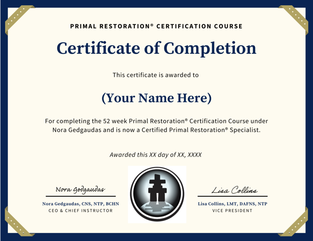 Primal restoration primal body primal mind this certification only verifies that you have completed the material although it is accredited through the nta for continuing education credits ceus xflitez Images